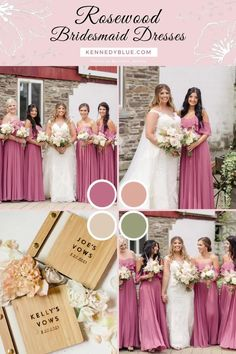 You'll need a good color palette to pull off the wedding of your dreams, and this might be it! This bridal party is wearing 'Allison' in the color 'Rosewood' from Kennedy Blue. Available in 100+ styles, 50+ colors, sizes 00-32, and easy to mix & match with other styles. Find your perfect bridesmaid dress online at Kennedy Blue!   rosewood pink wedding ideas   pink wedding inspo   rosewood pink bridesmaid dress   summer wedding   garden wedding   elegant bridesmaid gown   allison dress Summer Bridesmaid Dresses, Affordable Bridesmaid Dresses, Wedding Dresses, Party Looks, Elegant Wedding, Bridal, Pink, Color, Style