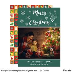 Merry Christmas photo card green and white script