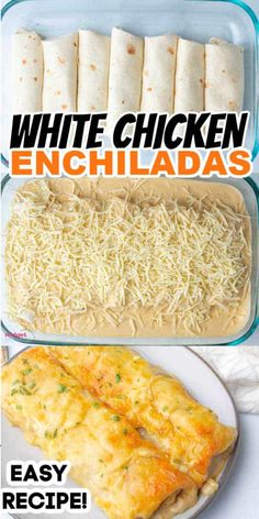 Creamy White Chicken Enchiladas. Flour tortillas stuffed withy cheesy chicken and topped with a creamy white sauce and shredded cheese. The perfect easy Mexican dinner recipe. White Chicken Enchiladas, Chicken Enchilada Recipes, White Sauce Enchiladas, Easy Enchilada Recipe, Chicken And Cheese Recipes, Chicken Tetrazzini Recipes, Cheesy Enchiladas, Chicken Enchilada Casserole, Enchilada Soup