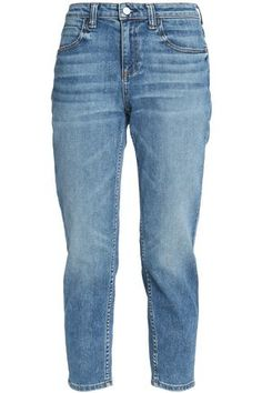 ALEXANDER WANG WOMAN CROPPED FADED MID-RISE TAPERED JEANS MID DENIM. #alexanderwang #cloth #