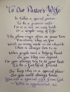 Custom Calligraphy, Pastors Wife Gift, Pastors Wife Poem, Hand written 8 x 10 inches, Colors of your choice by Biblecalligraphy on Etsy