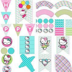 Hello Kitty Inspired Birthday Party Decorations Pack Digital Download DIY Printable Hello Kitty Inspired Birthday Party by PocketOfPosiesPrints