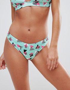ASOS Mix and Match High Leg Hipster Bikini Bottom in 80's Print - Mult