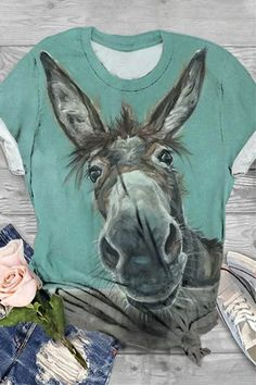 Mode Kimono, Foto Gif, Shirt Bluse, Horse Print, Going Out Tops, Casual T Shirts, Online Shopping Clothes, Online Clothes, Women's Clothes