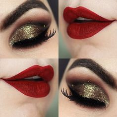 The ultimate festive makeup look with gold eyes and a gorgeous red lip!