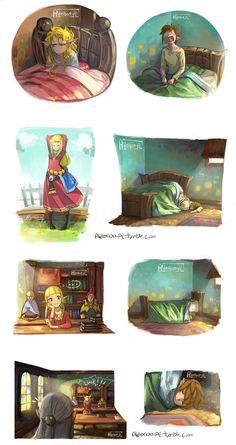 Wake up time, Zelda and Link, The Legend of Zelda: Skyward Sword artwork by AldeRion-Al.