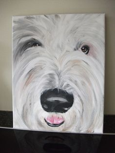 """""""Mo"""" the Old English Sheepdog , hand painted portrait by Paintthings"""
