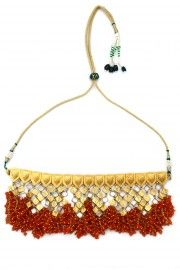 Gold plated orange beads bunch necklace