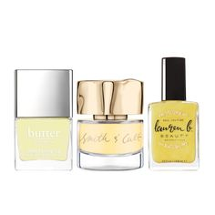 Patent Shine 10X Nail Lacquer in Lemon Drop, Butter London $18 The Bee Side Nail Lacquer, Smith & Cult $18 Nail Polish in Zuma Beach Bum, Lauren B. Beauty $18