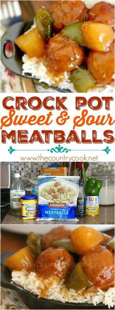 Crock Pot Sweet & Sour Meatballs recipe from The Country Cook. This sauce is AMAZING! A little sweet and a little tangy. They are fantastic served as an appetizer but can also be served over rice as a meal. These new Johnsonville meatballs are the best frozen meatballs I've ever tasted! #crockpot #slowcooker #spon