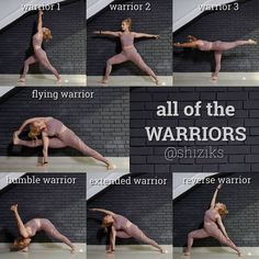 One of my favourite yoga inspirations! She's sharing all of the Warrior Pose… One of my favourite yoga inspirations! She's sharing all of the Warrior Poses/ Variations Ashtanga Yoga, Yoga Bewegungen, Yoga Pilates, Yoga Moves, Yoga Exercises, Yoga Flow, Stretches, Pilates Poses, Kid Yoga