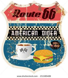 retro american diner sign, worn and weathered, vector format