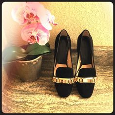 """Zara Suede Pilgrim Heels Stylish black suede pilgrim shoes from Zara. Gold hardware, block heels. 2.75"""" heel height. Worn twice and in excellent condition! Size 40, but Zara shoes run a little small so best for size 9.5! Zara Shoes Heels"""