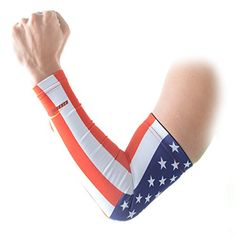 COOLOMG Aermel Sleeves Anti Rutsch Anti UV Summer Sport Notwendig Erwachsene Kinder 1 St�ck USA Flagge XS