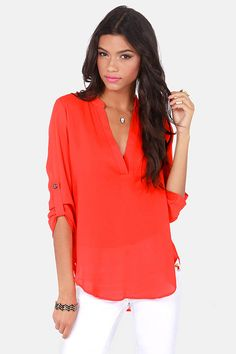 We see the V-sionary Coral Red Top in your future! This lightweight top pairs button-tab half sleeves, a deep V-neckline, and a rounded hemline. Trendy Clothes For Women, Trendy Tops, Trendy Dresses, Cute Tops, Blouses For Women, Trendy Outfits, Cute Dresses, Cute Outfits, Summer Outfits