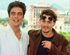 Johnny Depp with Benicio Del Toro at the Festival Palace in Cannes, 1998. Both star in the movie 'Fear and Loathing in Las Vegas'. AP PHOTO/Laurent Rebours