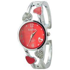 ELEOPTION Bracelet Design Quartz Watch with Heart Rhinestone Stainless Steel Band Free women's Watch Box (Loving-Red)