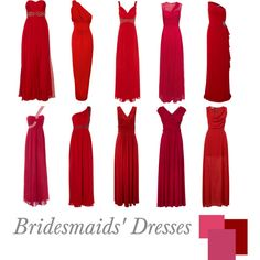 Long Scarlet Bridesmaid's Dresses | Dunno about this for western weddings, but definitely great for eastern ones!