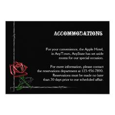 Gothic RSVP Cards Gothic Barbed Wire and Rose Wedding Accomodations Card