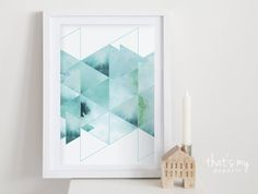 Triangles Sea Watercolor Poster 20 x 30 cm Dreiecke Meer Aguarela Poster Triangles, Abstract Watercolor, Watercolor Paintings, Painting Inspiration, Art Inspo, Art Diy, Art Music, Easy Drawings, Painting & Drawing