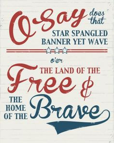 patriotic typography AMERICANA star spangled banner free brave red white blue