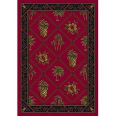 "Milliken Signature Ruby Palm and Pineapple Area Rug Rug Size: Oval 3'10"" x 5'4"""
