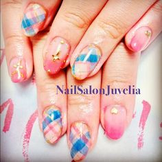 handpaint girly plaid♡ #plaid #gingham #nail #nails #nailart #natural #naildesign #art #autumn #design #fashion #pink #happy #gel #girl #girly #handpaint #paint #studs #gold #iphone #instacute #instagood #instamood #instatags #webstagram #tweegram #love #lovery #cute