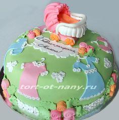 Торт с коляской для девочки. Cake for a girl
