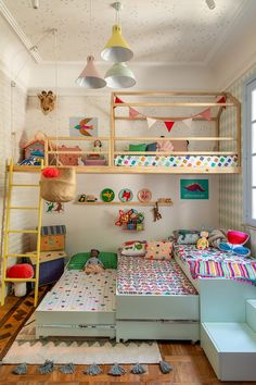 35 Fascinating Shared Kids Room Design Ideas - Planning a kid's bedroom design can be a lot of fun. It can also be a daunting task as you tackle the issue of storage and making things easy to clean. Girls Bedroom, Bedroom Decor, Bedroom Ideas, Childs Bedroom, Triplets Bedroom, Boys Bedroom Curtains, Bedroom Fun, Wall Decor, White Bedroom
