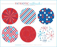 FREE drink parasols and cupcake umbrella printables in red white and blue. (Perfect for 4th of July)