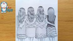 Pencil Sketch Tutorial, Pencil Sketch Drawing, Sketches Tutorial, Pencil Art Drawings, Drawing Board, Girl Drawing Sketches, Drawings Of Friends, Girly Drawings, Art Drawings Sketches Simple