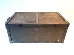 Metal Storage Box, Industrial Storage, Vintage Metal Box, Military Storage  Chest, Deed