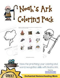 FREE Noah's Ark Coloring Pack - Enchanted Homeschooling Mom Lesson Sunday School Teacher, Sunday School Lessons, Sunday School Crafts, Lessons For Kids, Bible Lessons, Preschool Bible, Bible Activities, Bible Story Crafts, Bible Stories
