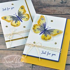 handmade greeting cards from Miss Pinks Craft Spot ... blue, yellow, whie ... lovely multi-stamp butterfly ... Stampin' Up!