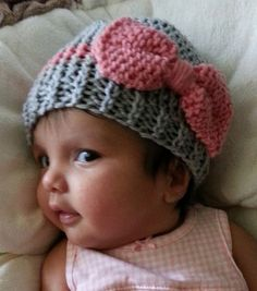Baby Hat with Bow by KnitFourKids on Etsy, $13.50