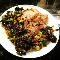 Impromptu curry roasted leg of lamb and Brussels sprouts with broiled kale. #wholelifechallenge