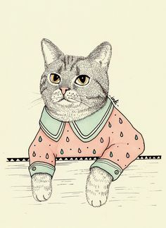 Illustration of a little fancy cat