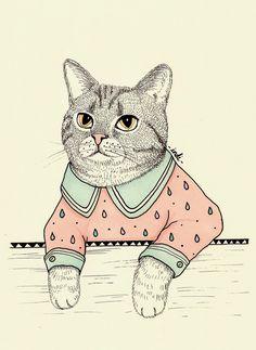 Illustration of a little fancy cat