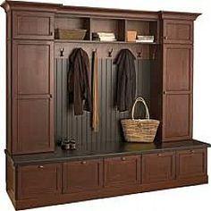 Simple DIY Mudroom Storeroom: Brown Wooden Lockers For Mudroom Design – WXkaima