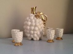 Grape Decanter / Vintage Bar Ware / White and by RedBarnGarden, $48.00