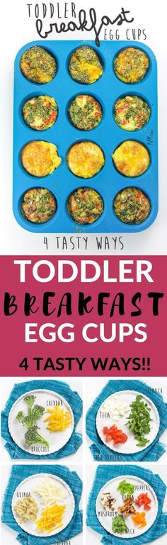 These healthy Toddler Breakfast Egg Cups come in four different tasty combinations and are filled with veggies, eggs, cheese and even bacon! A filling and nutritious breakfast for your toddler that is perfect for on-the-go eating. They can even be frozen and re-heated for a quick breakfast when you are pinched for time.