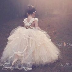 Adorable a-line long tulle flower girl dress with criss cross back - Thumbnail 4