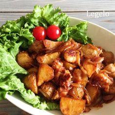 鶏もも肉 じゃがいも 玉ねぎ レシピ 。じゃがいもを焦んがり焼いてホクホクさせるのがポイントです。ごはんが進むおかずです。