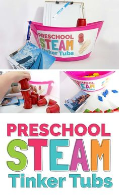 a STEM mindset with Tinker Tubs! An easy way to get started with engin.Introduce a STEM mindset with Tinker Tubs! An easy way to get started with engin. Stem Science, Preschool Science, Preschool Classroom, Preschool Learning, Preschool Ideas, Classroom Ideas, Learning Activities, Steam For Preschool, Preschool Centers