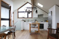 spacious kitchen with skylight