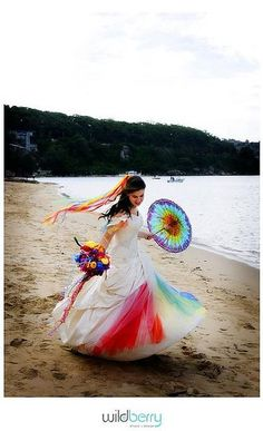 Rainbow wedding dress and bouquet - Hippie wedding