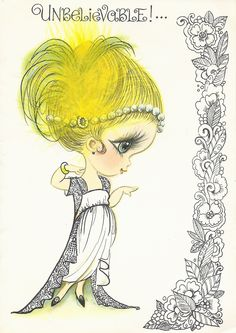 Vintage Greeting Card  Art Deco look Girl feather in hair