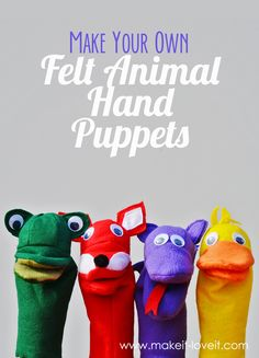 Make Your Own Felt Animal Hand Puppets (FREE template included) I use a glue gun or fabric glue since I'm not a sewer (or at least not a very good one) Puppet Patterns, Sewing Patterns Free, Free Sewing, Free Pattern, Sewing Toys, Doll Patterns, Felt Puppets, Puppets For Kids, Sewing Projects For Kids
