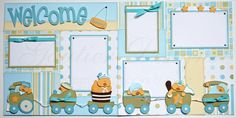 12 x 12 premade scrapbook pages Welcome Baby boy by gautierdesigns