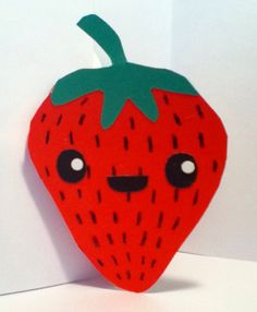 Handmade Kawaii Strawberry Card Cardstock by justcreativecards, $3.50